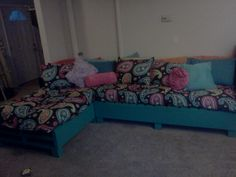 My new pallet sofa. Inspired by pinterest.