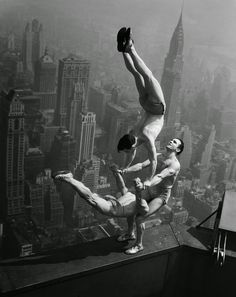 Acrobats at the top of Empire State Building, possibly May 1, 1931 (Vintage…