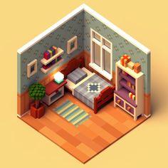 room by Elena Berezina Isometric Art, Isometric Design, 3d Design, Game Design, House Design, 3d Pixel, Pixel Art, Environment Concept Art, Environment Design