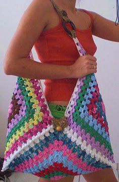 Crochet Huge Granny Square Blocks Tote Bag Inspiration