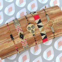 Boho bracelets set, micro macrame and miyuki delica beads woven jewelries. Sugar skull / calavera. Linen, black, gold, neon pink and coral. © Natacha Fayard