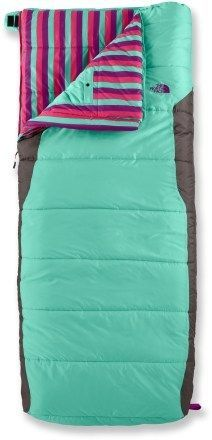 Northface sleeping bag. I love it but I would be afraid to take it into the woods and have it get ruined!