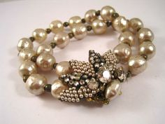 Vintage MIRIAM HASKELL Double Strand BAROQUE PEARL BRACELET~Signed