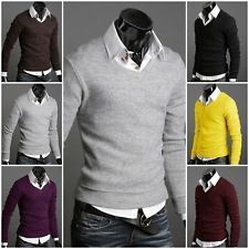 Men Casual Stylish Long Sleeve T-shirt Slim Fit Knitted V-neck Sweater Shirt Tee