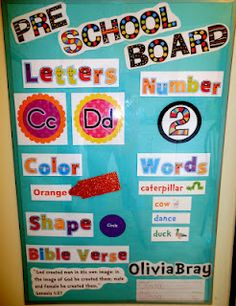 Love how bright this focus board is.some of the headers are offered as freebies too! Preschool Boards, Preschool Rooms, Preschool Bulletin, Preschool At Home, Preschool Curriculum, Preschool Lessons, Preschool Learning, Preschool Activities, Preschool Schedule