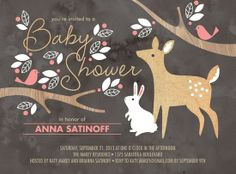 don't like this exact invite, but maybe incorporate similar deer, bunny, birds & leaves into a different design