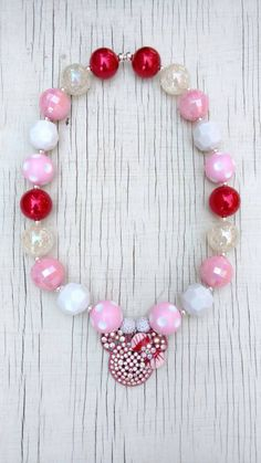 Minnie Mouse red pink and white stretchy bubblegum necklace with rhinestone pendant gumball necklace photo prop girl's jewelry by PinkPolkaDotHearts on Etsy