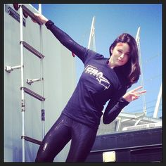 Rachel Nichols sporting Kimani Ray Smith's company tee over her CPS suit on the set of Continuum Season 2, Episode 13 - May 31, 2013 (via ticklenichols on Instagram)