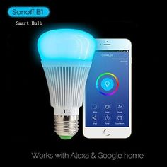 Sonoff LED Candelabra Light Dimmable Wiif Smart Bulb,Energy Saving Remote Control Smart Home Automation Module Color Changing Light Bulb, Smart Home Automation, Works With Alexa, Lamp Bulb, Save Energy, Consumer Electronics, Remote, Wifi, Coupon