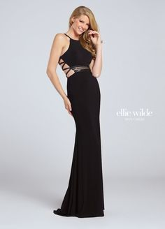 473afca7ddb4 Ellie Wilde EW117107 is a fitted jersey prom dress with novelty beadwork on  the illusion waist