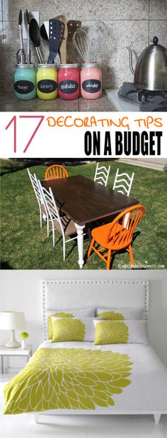 17 Decorating Tips on a Budget.  Home decor tips and tricks that won't break the bank.