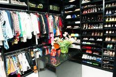 Sleek black closet <3