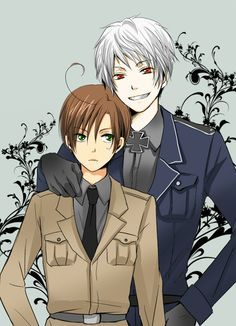 """Romano and Prussia from """"Hetalia.""""  I've pinned this before, but it isn't giving me the """"Psst!""""  Either way.  *pin*"""