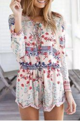 Stylish Long Sleeve Scoop Neck Lace-Up Printed Women's Romper
