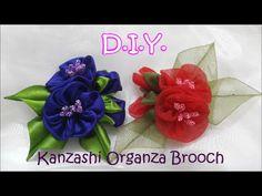 D.I.Y. Kanzashi Organza Brooch - Tutorial - YouTube