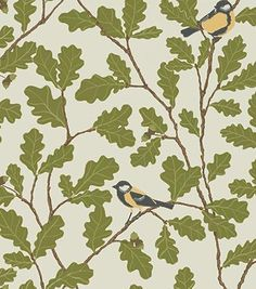 Two lovely birds sit in an old oak tree, whose foliage grows up the wall. Our popular pattern has been given a new colour scheme with beautiful grey nuances in the Brunnsnäs collection. By the way, the oak leaf is the symbol in the Sandberg logotype. Tree Wallpaper, Tumblr Wallpaper, Fabric Wallpaper, Wallpaper Online, Classic Wallpaper, Old Oak Tree, Online Painting, Designer Wallpaper, Green