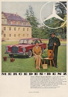Dachshunds pulling a Mercedes-Benz in Vintage Advertisement