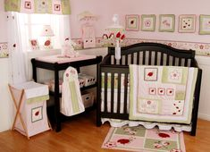 Sweet And Feminine Baby Girls Bedding Sets : Beetle and Flower Print Baby Girls Bedding Set Inspiration in Light Pink Girls Nursery Room wit...