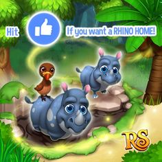 Do you wanna build a Home for your Rhinos?  Then hit LIKE if your answer is YES!  If there are more than 3000 LIKES from all versions tomorrow King Jarvis will bring the Rhino Hive to the Shop very soon!   The deadline is Wednesday 22nd March 2017 ( UTC 7am). LIKE NOW! Together we can win!  Share this post to ask your friends to hit LIKE too! Let's play Royal Story together! http://t.funplus.com/trenfpu #RoyalStoryTwitter