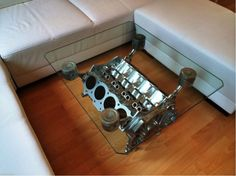 POWER! V8 Engine coffee table. One of our many ideas for, 'Christmas Gifts for the Car Lover in Your Life'