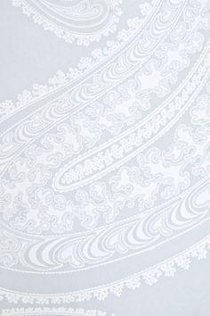 Rajapur Paisley Wallpaper Large design Paisley print wallpaper in light blue grey with white design.