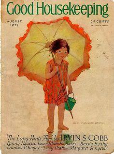 Orange Beach Umbrella Girl on Good Housekeeping Magazine Cover, August 1925 -- illustration by Jessie Willcox Smith
