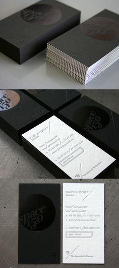 Space150s v23 Letterpress Black Business Card_Space150′s version 23 brand identity is pretty damn slick. Printed by Beast Pieces.