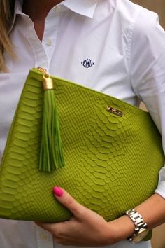 Accessorize! Chartreuse purse bright nails add personality to your work wear. Its all in the details.