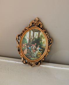 Vintage Ornate Frames Gold Gilded Oval Set Hollywood Regency Small Hong Kong Photo Picture Baroque. $18.00, via Etsy.