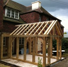 Timber Frame Carpentry in Hedge End, Southampton – Joinery, Oak Barn - Winter Garten Architektur Chalet Extension, Cottage Extension, House Extension Design, Oak Framed Buildings, Timber Buildings, Garden Room Extensions, House Extensions, Shed Design, House Design