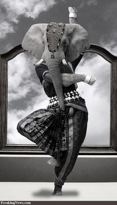 """""""Elephant Dancer"""" by Sassydeb. Original in colour."""