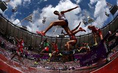 Mahiedine Mekhissi-Benabbad of France jumps in the men's 3000m steeplechase heats