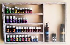Essential oils shelf, Christmas present, apothecary rack, oil storage, wood… More