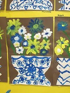 Lines, Dots, and Doodles: Blue and White Vases Spring Art Projects, School Art Projects, Blue And White Vase, White Vases, Birmingham Museum Of Art, Third Grade Art, Art Lessons Elementary, Kindergarten Lessons, We Are The World