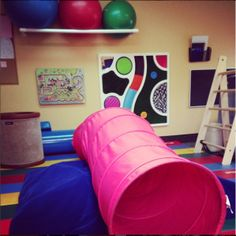 This site provides great tips for creating inexpensive sensory rooms in the home. The sensory room should be designed based on a Childs specific sensory needs and a child can take time throughout their day to play in the sensory room to meet these needs.