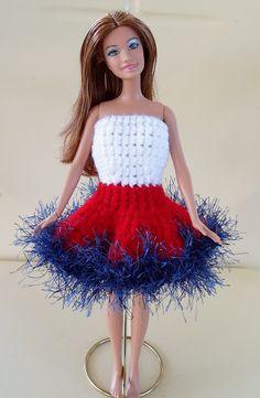 Happier Than A Pig In Mud: Patriotic Barbie Dress-Crochet + pattern link