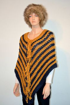 Gold and Blue PONCHO/ Crochet Poncho/ Fringed by Africancrab