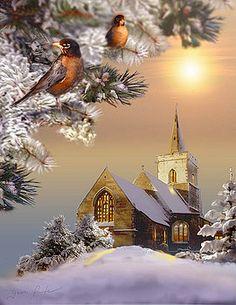 Gina Femrite tarafından robins ve kilise ile kış sahne