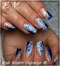 25 ideas for nails spring flowers blue - My best nail list Blue Nails, My Nails, Blue Gel, Spring Nails, Winter Nails, Nails Factory, Nagellack Design, Airbrush Nails, One Stroke Nails