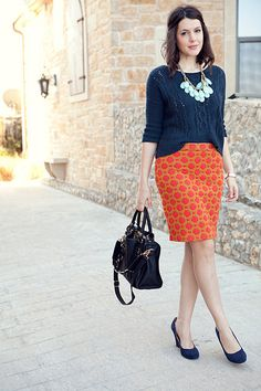 Just bought this anthropology skirt *on sale*. I love it paired with the navy blue.