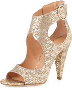 405b8731f0 Sigerson Morrison Major Snake-Embossed Cutout Sandal, Terra/Gold Open Toe  Sandals,