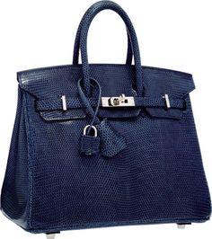 Hermes 25cm Blue de Malte Nilo Lizard Birkin Bag with Palladium Hardware