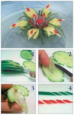 Cucumbers, floral food presentation idea, playing with food Veggie Art, Fruit And Vegetable Carving, Food Garnishes, Garnishing, Deco Fruit, Fingerfood Party, Food Sculpture, Food Carving, Edible Arrangements