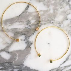 Janna Conner gold cube and chrysocolla chokers. #jannaconner