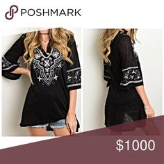 Black/gray embroidered top! Soft knit material with a beautiful drape - 3qtr bell sleeves- v neck with pale gray embroidery Tops