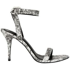 Alexander Wang Antonia Embossed Faux Snakeskin Sandal (1.785 BRL) ❤ liked on Polyvore featuring shoes, sandals, high heels stilettos, ankle strap sandals, black and white strappy sandals, strappy high heel sandals and ankle strap shoes