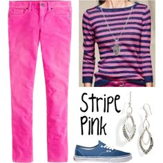 Stripe Pink by deneet on Polyvore featuring J.Crew, Vans, Lois Hill and Talbots