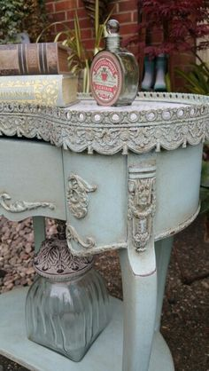 Shabby chic french detailing in Annie Sloan chalk paint, by Imperfectly Perfect. Love the zinc metal trim and color of this French table! #frenchcountry #cottagestyle #shabbychic
