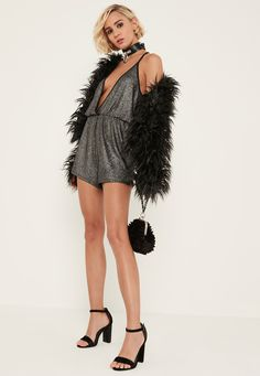 Missguided - Silver Strappy Knitted Cami Playsuit