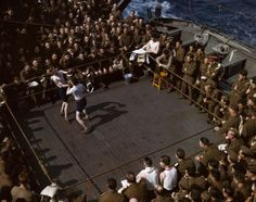 British-soldiers-watching-a-wrestling-match-on-a-troop-ship-from-England to Tunisia